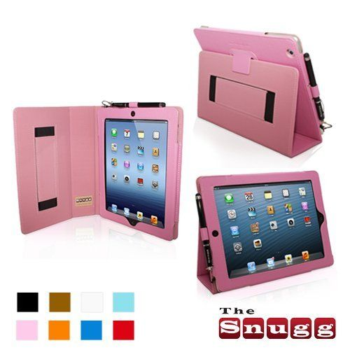 Snugg iPad 4 & iPad 3 Case - Leather Case Cover and Flip Stand with Elastic Hand Strap and Premium Nubuck Fibre Interior (Pink) - Automatically Wakes and Puts the iPad 4 & 3 to Sleep.