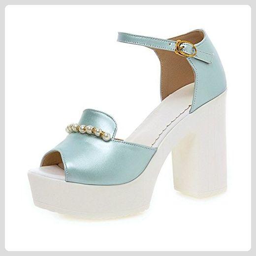 98c9309edbc3d9 Spielraum Mit Kreditkarte Damen Elegant Künstlich Perlen Peep Toe Plateau  Blockabsatz Knöchelriemchen Sandale Blau 39 EU