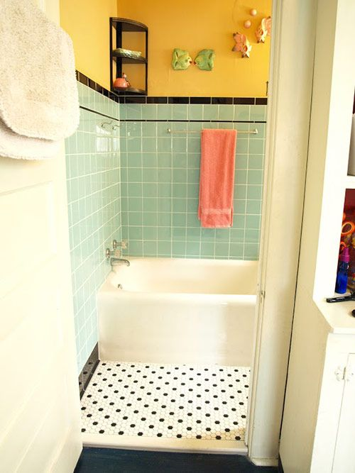 Kristen and Pauls 1940s style aqua and black tile bathroom built