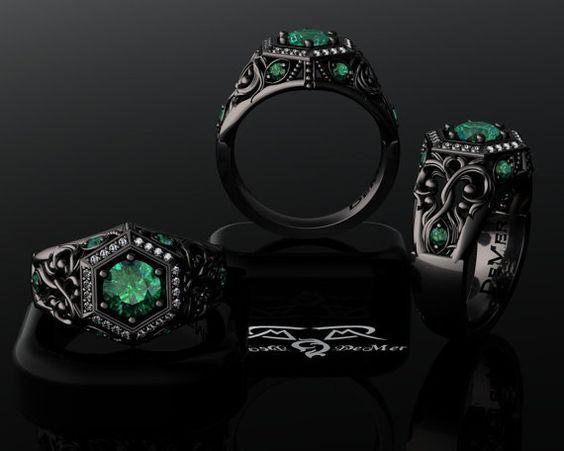Natural Emerald Ideal Cut Diamond 14kt Black Gold Engagement