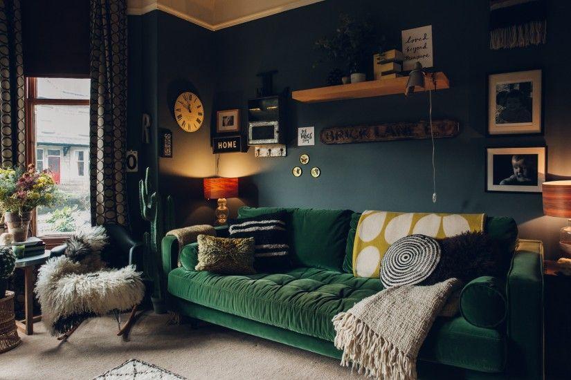 Scott Un Canape 3 Places Velours Vert Imperial Canape Vert Deco Maison Canape Velours Vert
