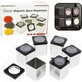 Magnetic Spice Jars - Tins Attach to Most Refrigerator Doors - Shake or Pour Containers - (Set of 6 Dispensers)