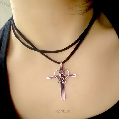 Copper cross pendant wire wrapped necklace cross my heart copper cross pendant wire wrapped necklace cross my heart aloadofball Images
