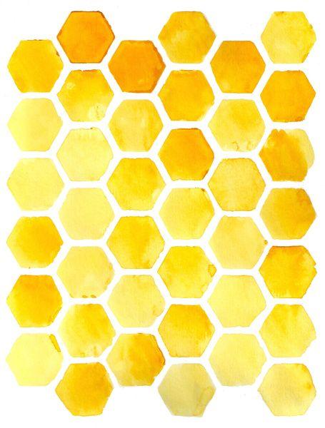Watercolour Honeycomb Art Print Bee Art Watercolor Pattern Art
