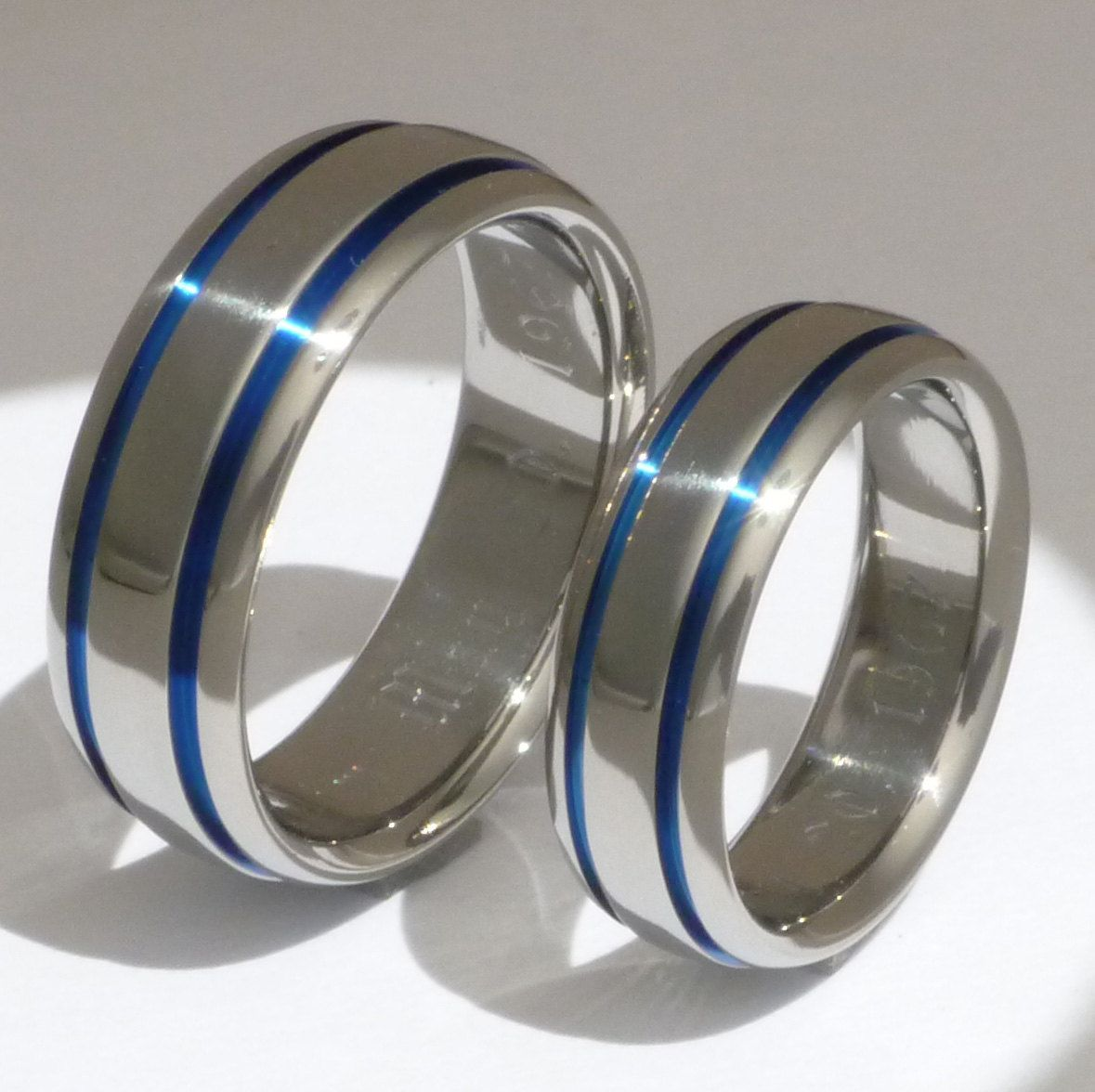 His and Hers Matching Blue Titanium Wedding Bands - stb10- Polished. $449.00, via Etsy.