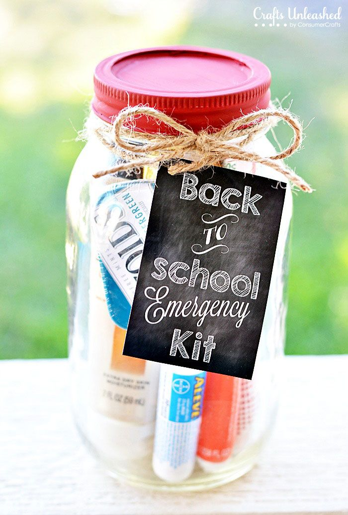 Teacher Kit Emergency Mason Jar Kit With Free Printable Mason Jar Teacher Gifts Mason Jar Teacher School Teacher Gifts