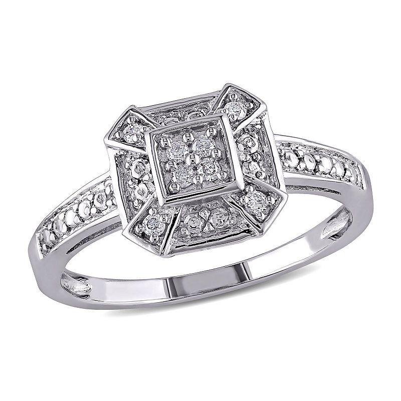 Womens 1 10 Ct T W Genuine White Diamond Sterling Silver Cocktail Ring Stylish Rings Fashion Rings Rings For Her