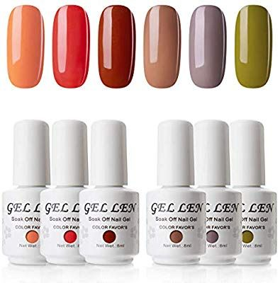 Amazon.com : Gellen UV Gel Nail Polish Kit, Popular Fall Autumn Nail Gel 6 Colors – Nail Art Home Gel Manicure Set : Beauty