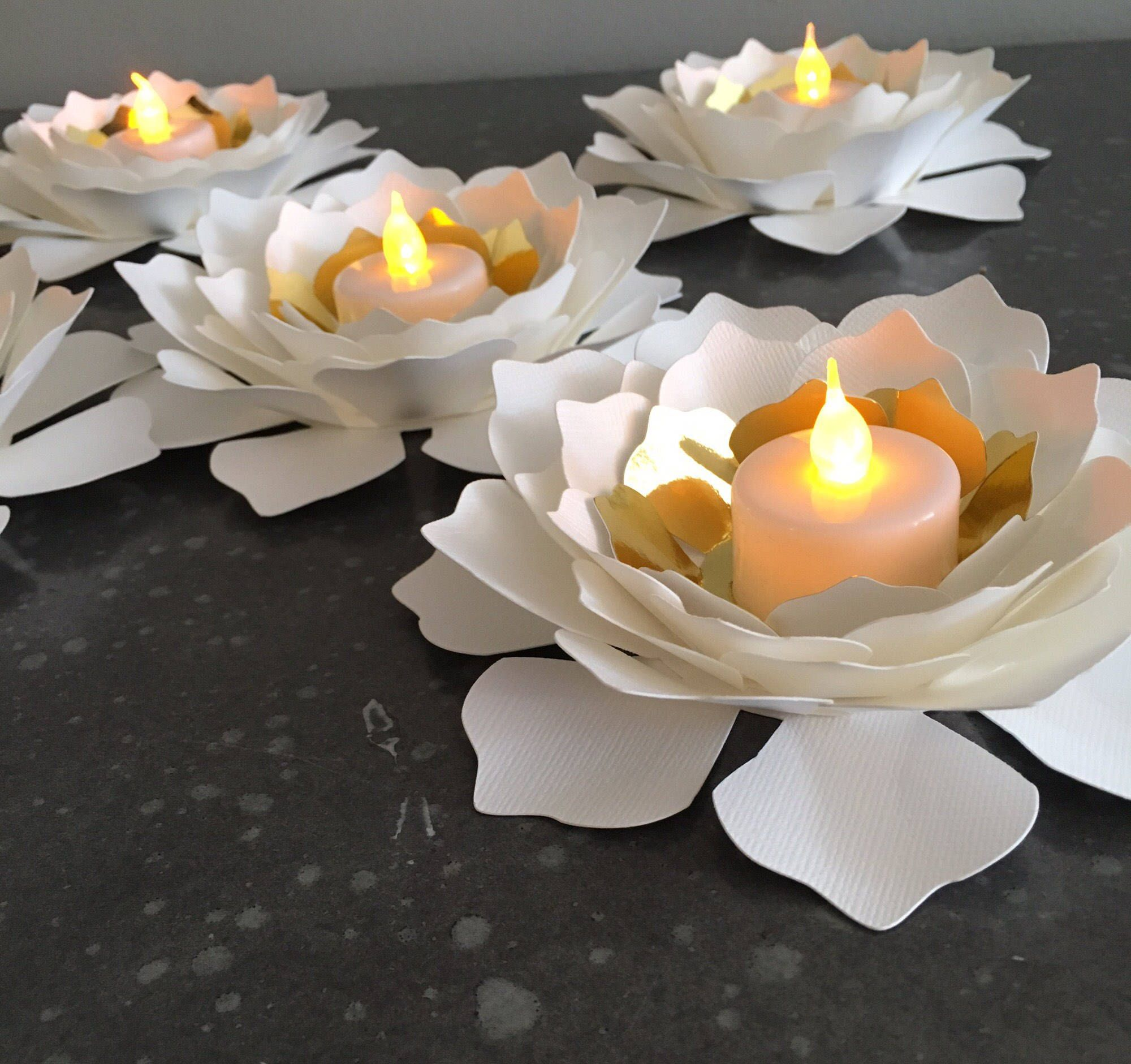 Awe Inspiring 5 Flower Led Candle Holder Wedding Decorations Centerpiece Home Interior And Landscaping Analalmasignezvosmurscom
