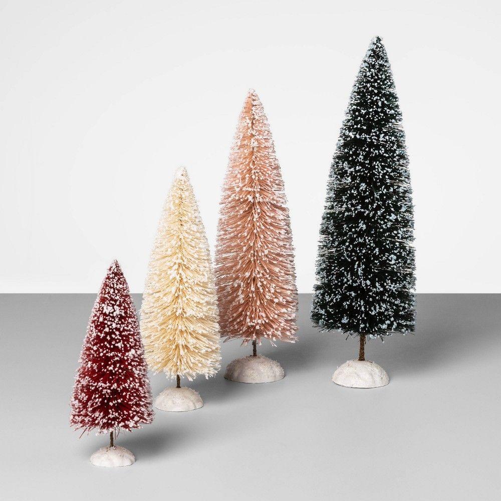 4pc Bottle Brush Sisal Christmas Tree Set Opalhouse In 2020 Christmas Tree Set Bottle Brush Trees Bottle Brush Christmas Trees