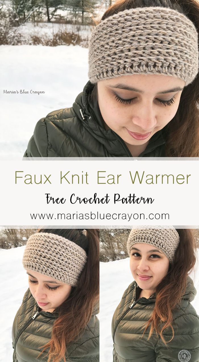Faux Knit Ear Warmer - Free Crochet Pattern | tejidos | Pinterest