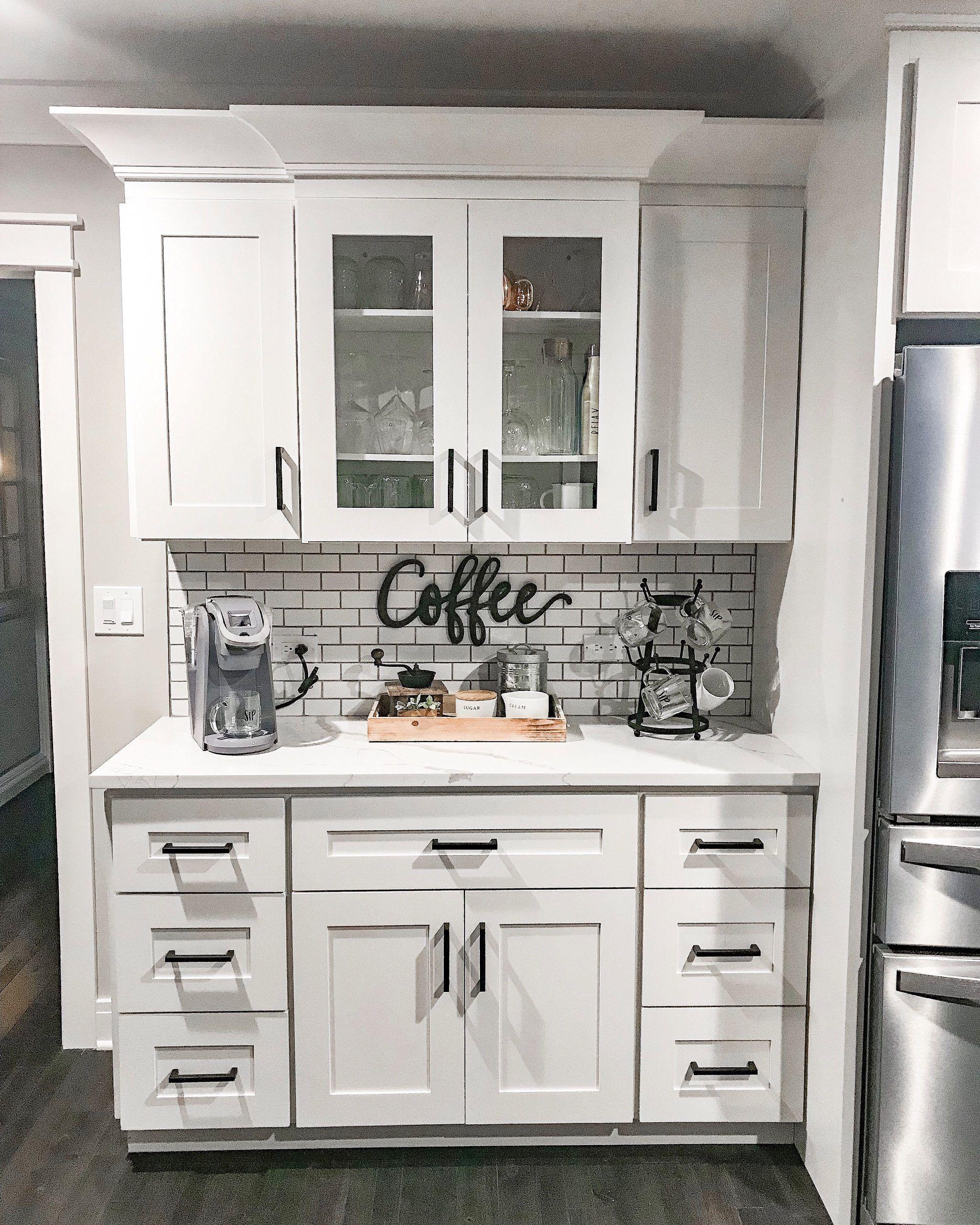 Coffee Bar Bar Coffee In 2020 White Shaker Kitchen Shaker Kitchen Cabinets White Shaker Kitchen Cabinets