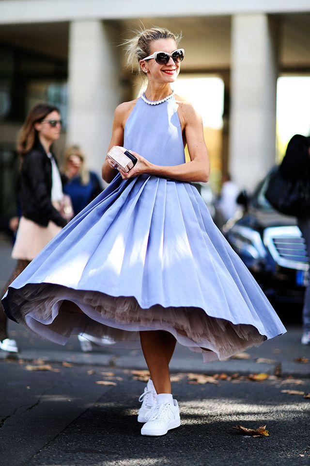 Retro inspired street style. Sock hop sweetheart. #NatalieJoos looking amazing in Paris.