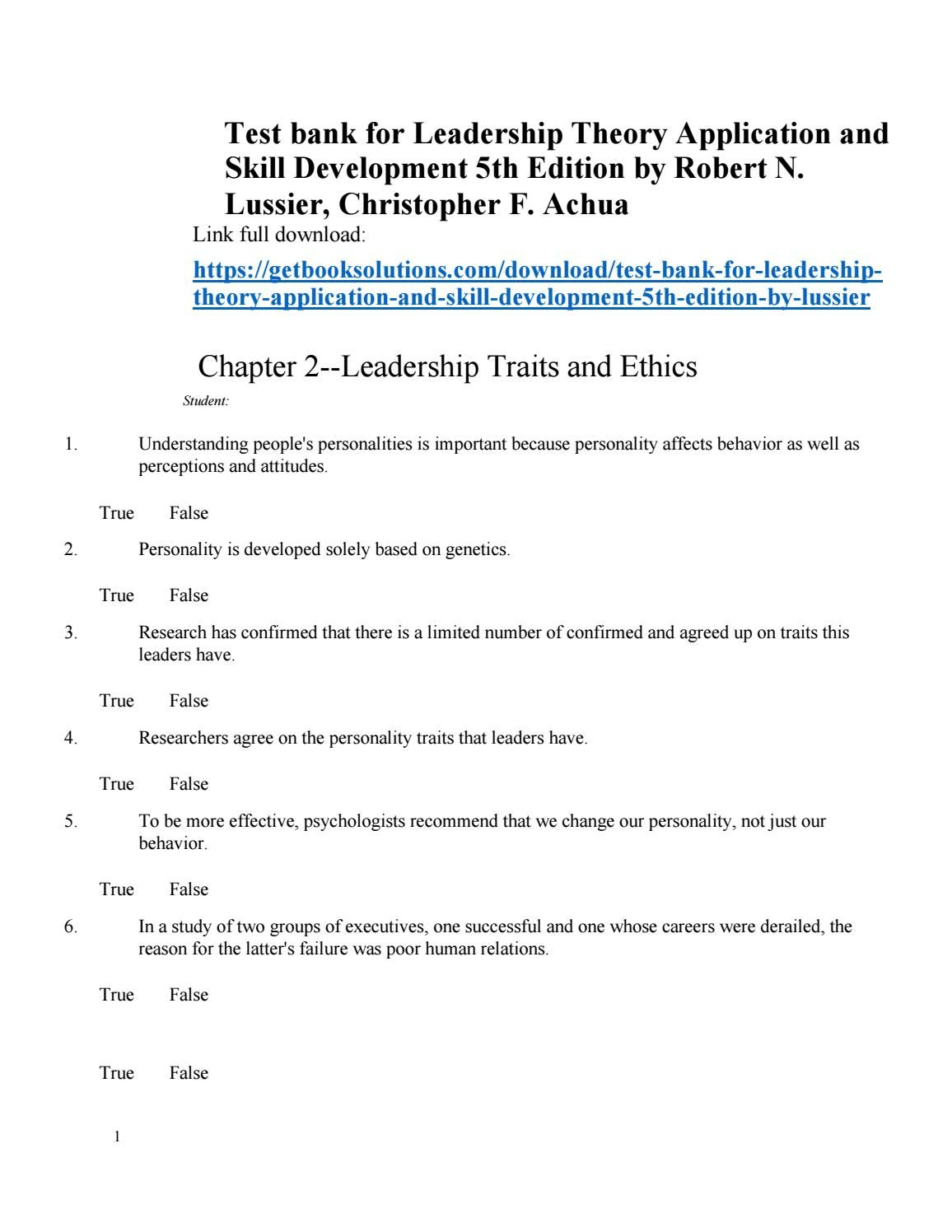 test bank for leadership theory application and skill development