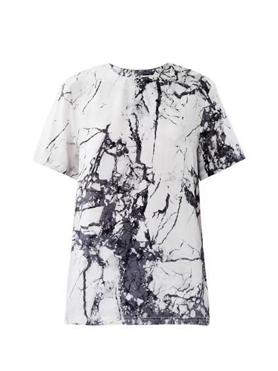 Marble Print Silk Top Balenciaga Matchesfashion Com