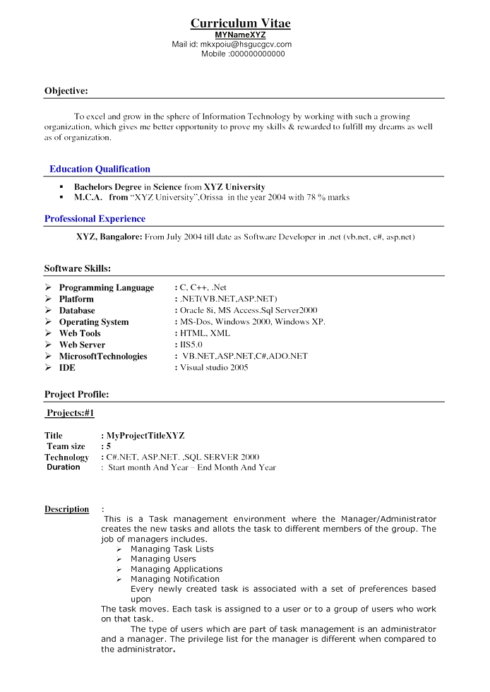 Resume Format 5 Years Experience Pinterest Resume Format