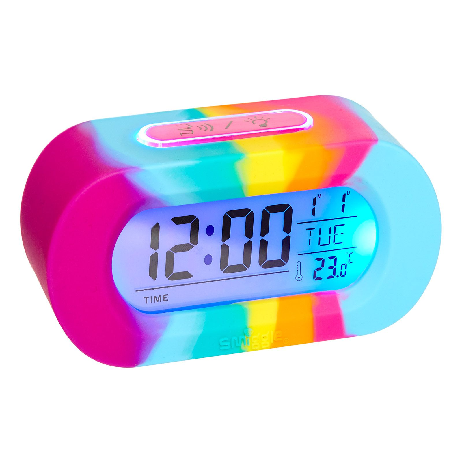 Image For Silicone Rainbow Talking Clock From Smiggle Uk In 2020 Unicorn Bedroom Kids Alarm Clock Unicorn Room Decor