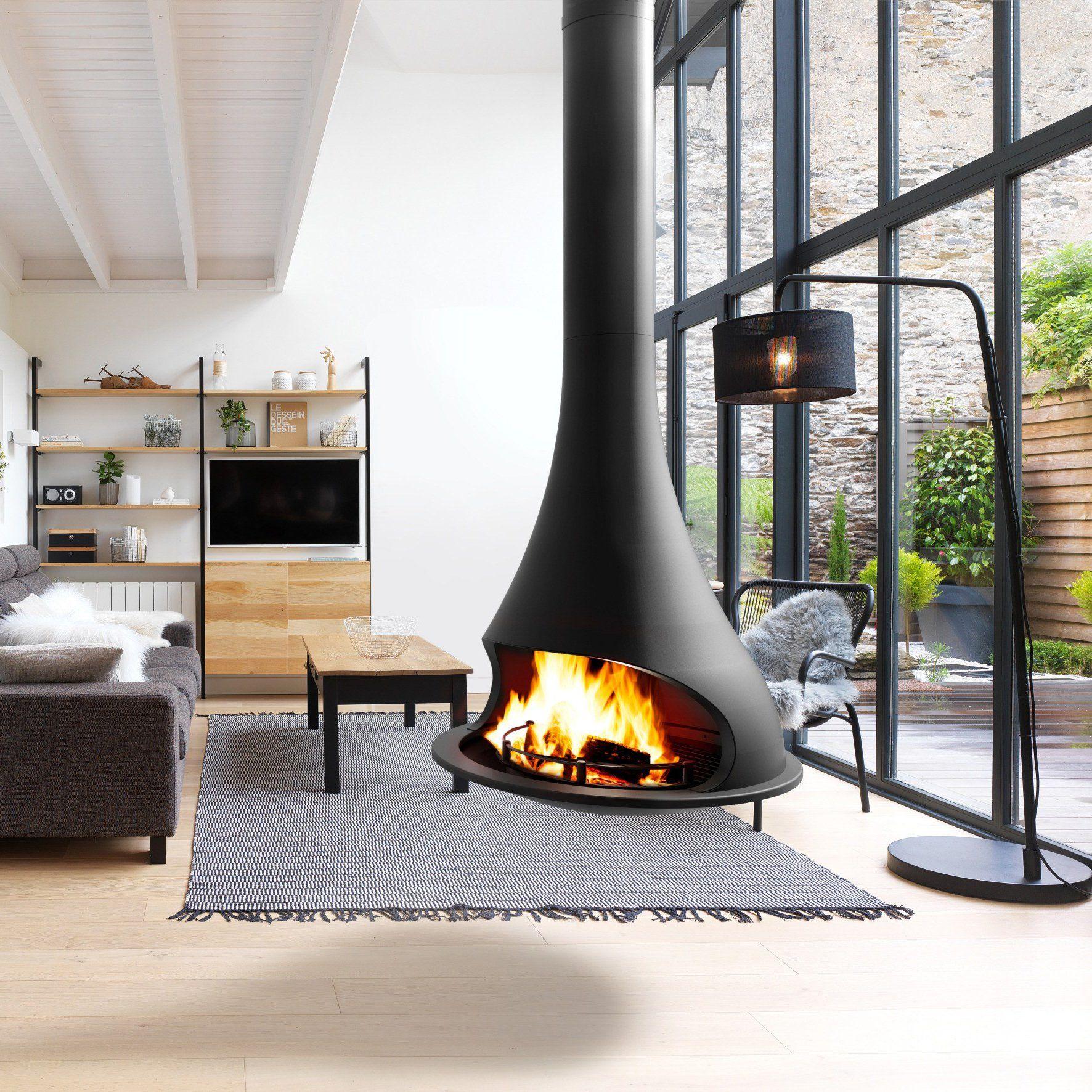 les plus belles cheminées suspendues   pinterest   cheminée