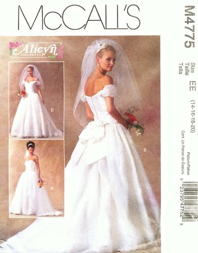 McCall\'s Pattern 4775 Wedding Gown - Strapless or Off Shoulder Uncut ...