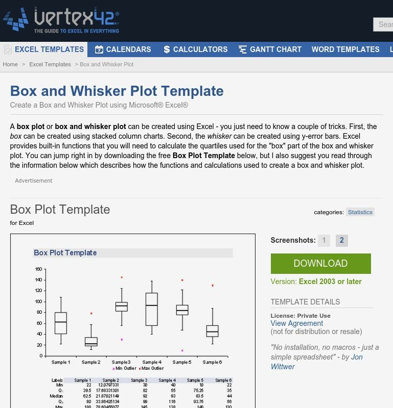 Free Box Plot Template Create A And Whisker In Excel