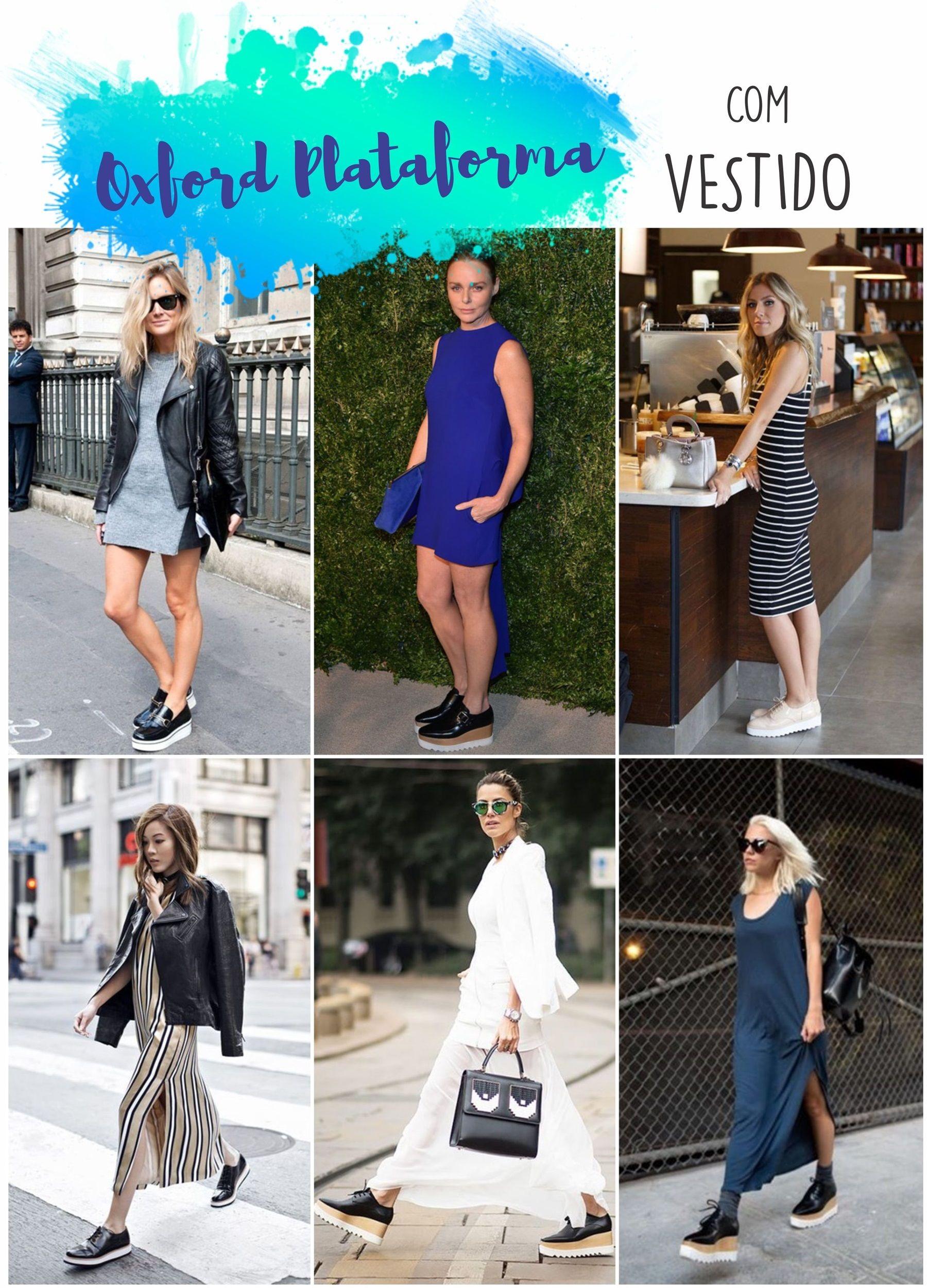 98d722bb0 Looks Estilosos · Como usar OXFORD PLATAFORMA com vestido Vestido Com Sapato,  Vestido Com Tênis, Oxford Feminino