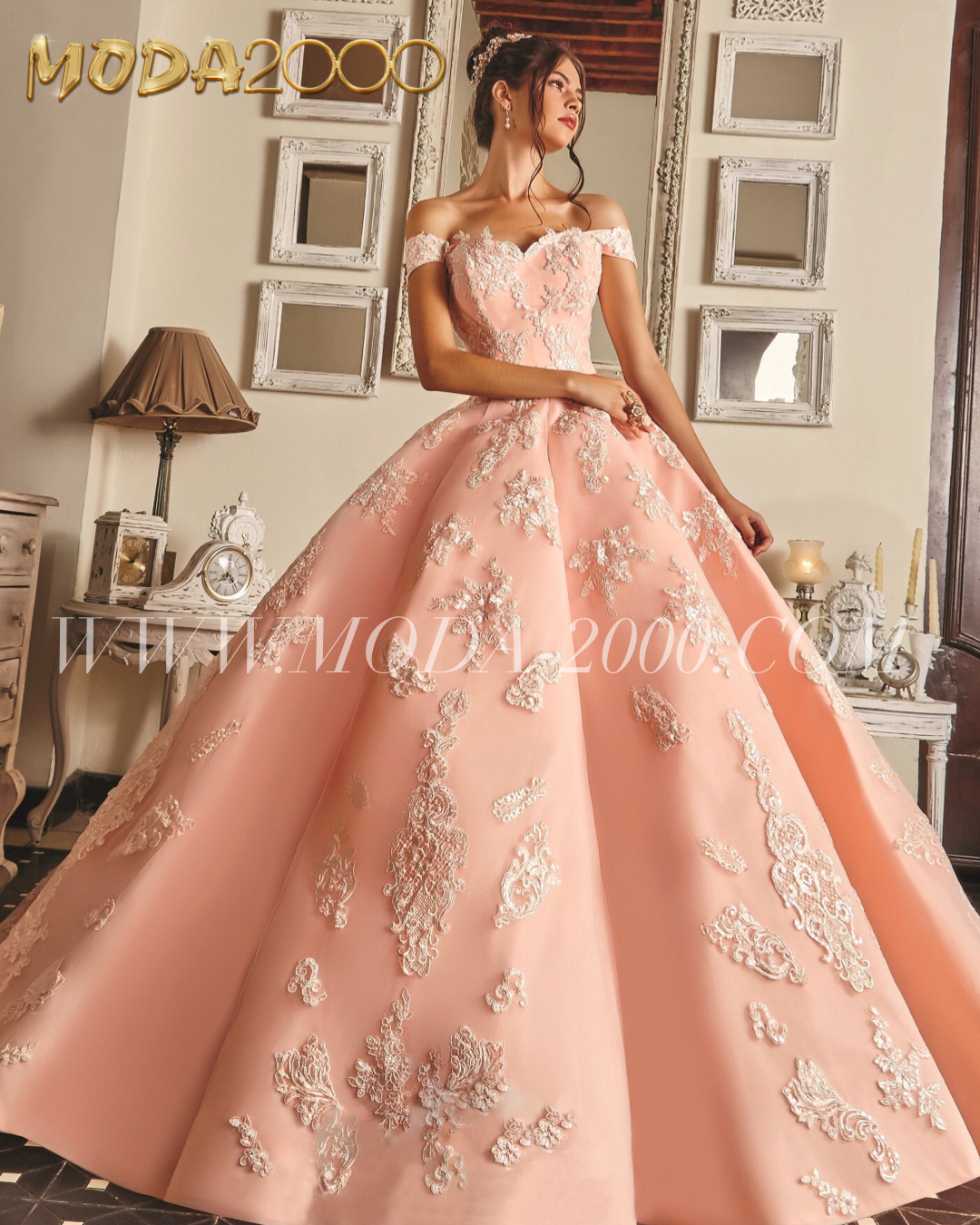 faa711c31fa Off the shoulder jeweled lace pink quinceanera dress available at Moda  2000✨ Instagram   moda2000inc