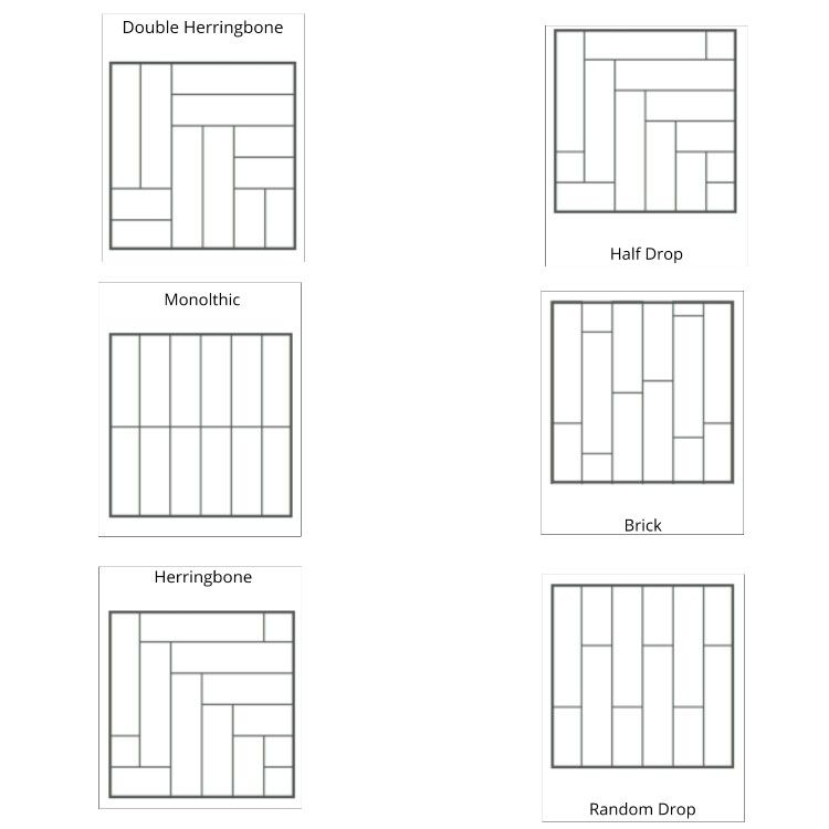 A few choices of the patterns that can used when laying