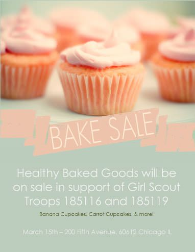 Pastel background and Cupcakes Fundraiser flyer Pinterest Bake