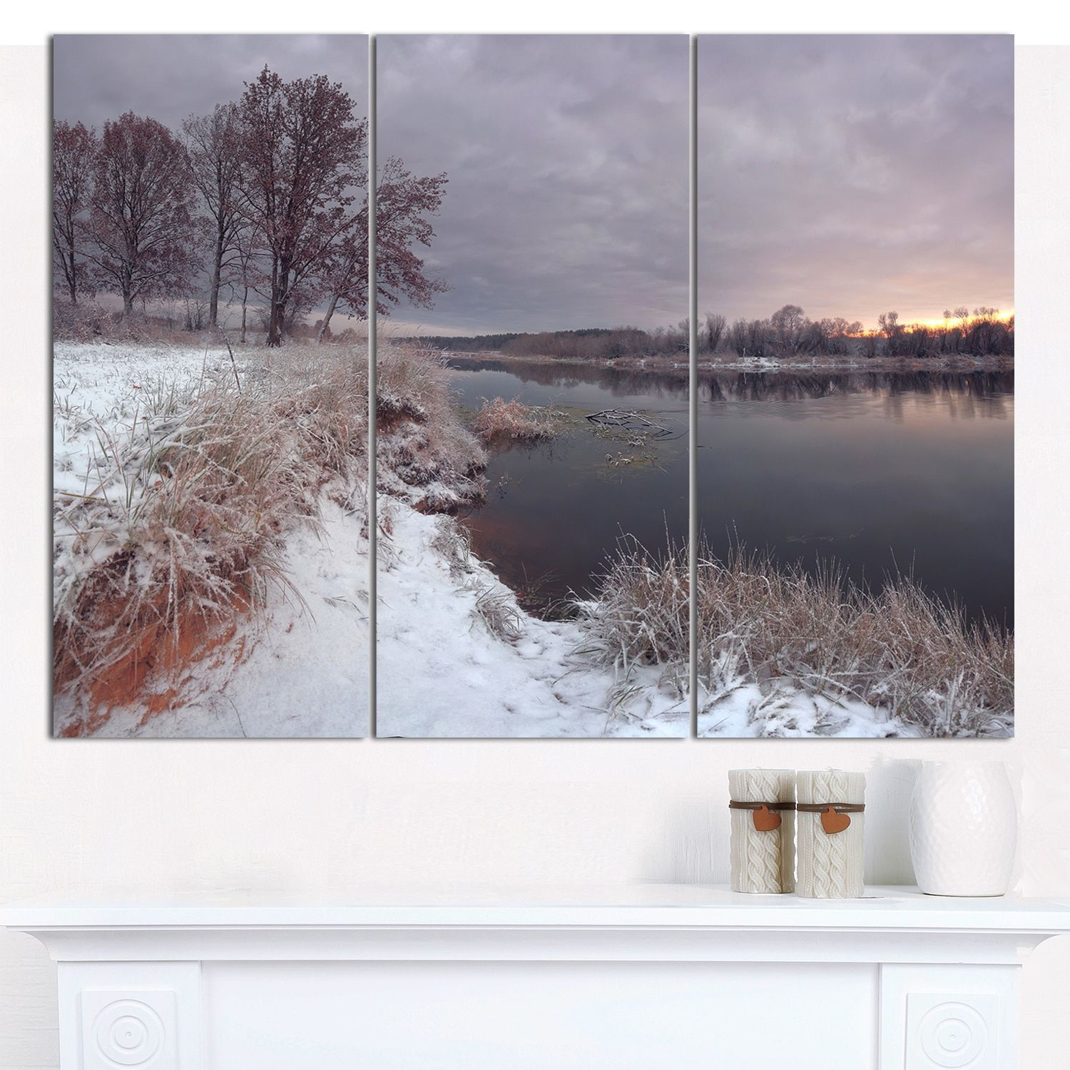 Designart 'Winter River in Dark Morning' Multipanel shore Canvas Art Print - 3 Panels 36x28