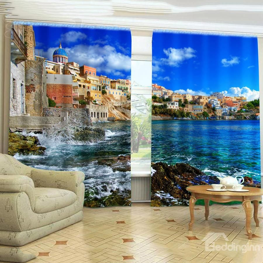 new arrival romantic sea life mysterious castle blackout curtain, Wohnzimmer dekoo