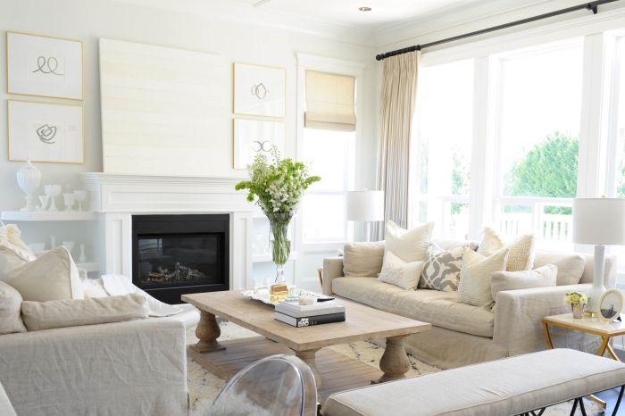 1001 conseils et id es pour am nager un salon blanc et beige design d int rieur pinterest - Salon beige et blanc ...