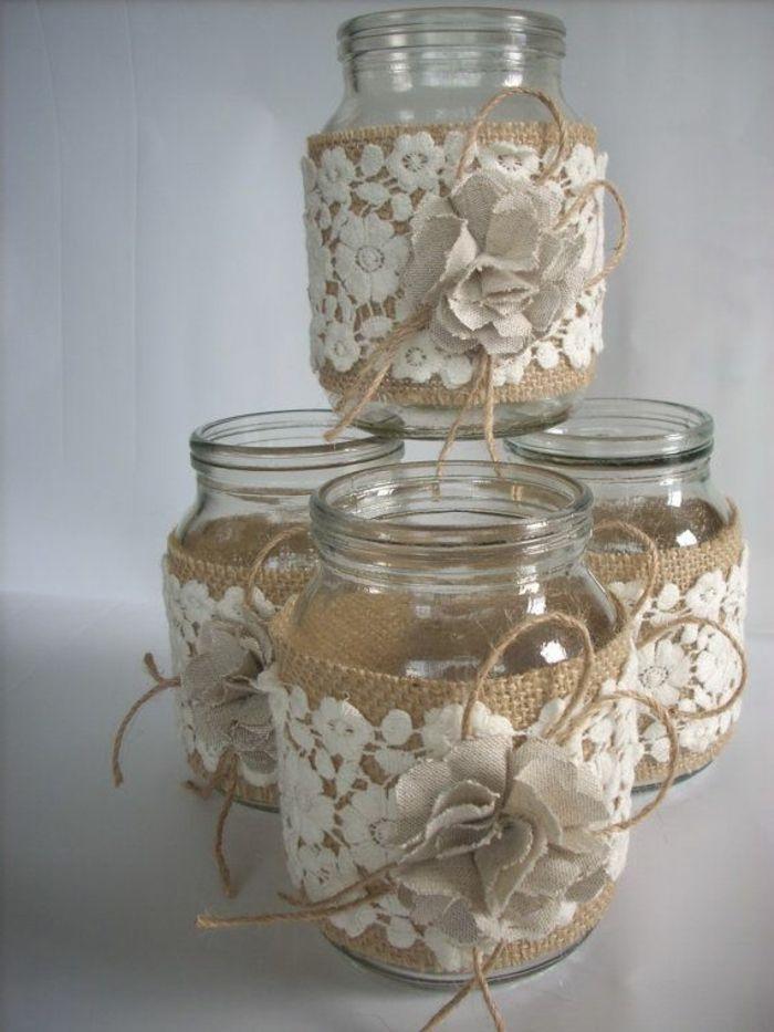 Spitze und Sackleinen in Kombination wie Blumen große Gläser dekorieren  - deko küche - #Blumen #Deko #dekorieren #Gläser #große #Kombination #Küche #Sackleinen #Spitze #und #wie #weckgläserdekorieren