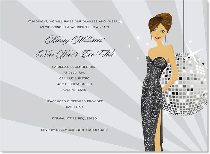 new years eve girl brunette invitation holiday party glam invitation