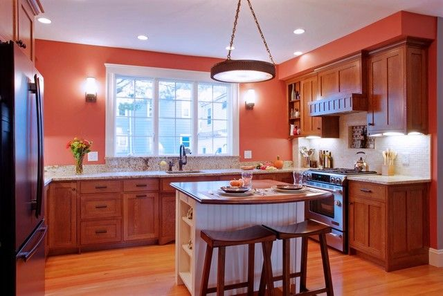 dark peach walls with dark cabinets | wall color schemes