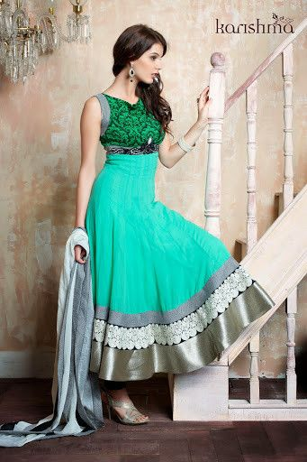 Readymade  Turquoise Silver Floor Length Anarkali Suit shop at andaazcollectionscanada
