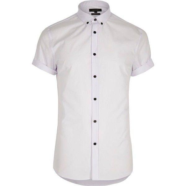 River Island White casual slim fit short sleeve shirt ($10 ...