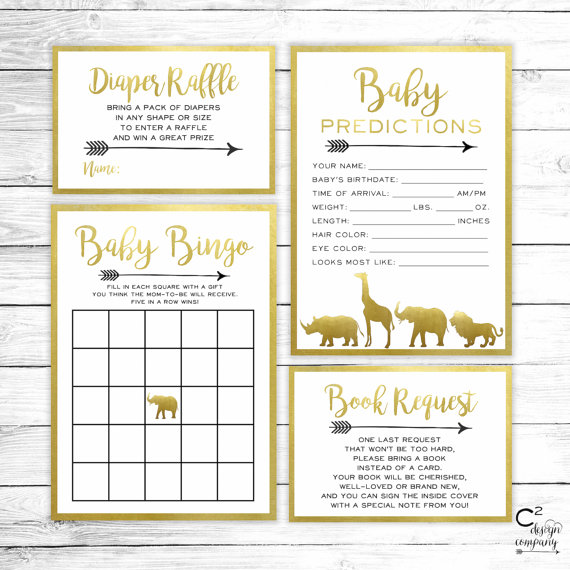 Gold Safari Baby Shower Game Package