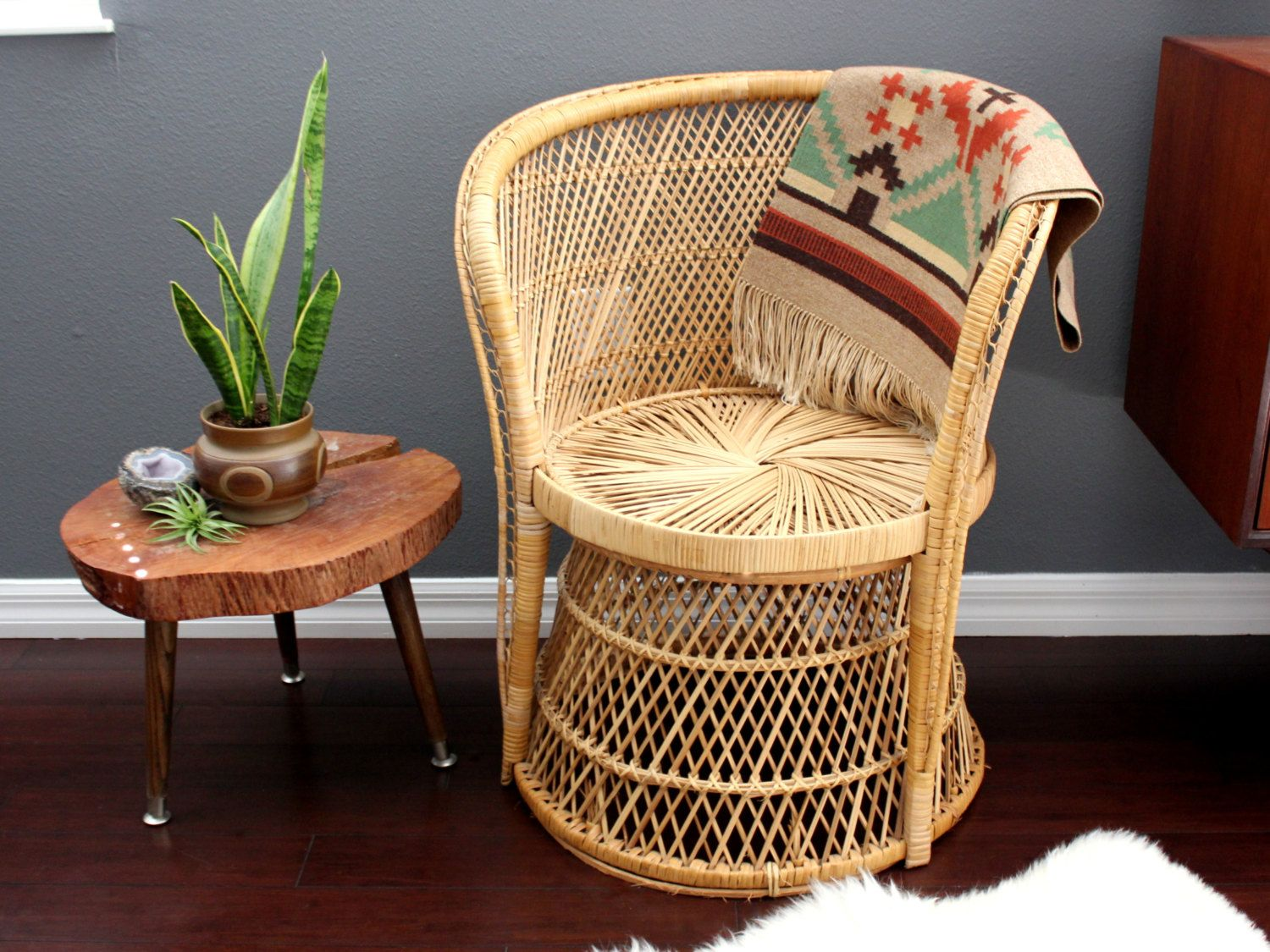 Natural Bohemian Vintage Rattan Pedestal Armchair Peacock Style by ...