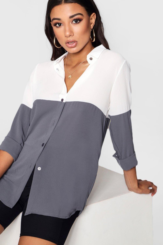 Colour Block Woven Shirt   Boohoo UK