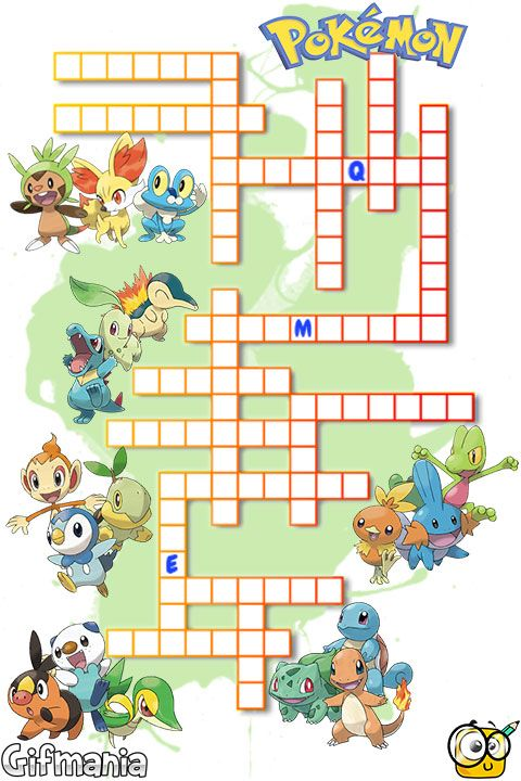 crossword with all starter pokemon do you know them all pokemon crosswords - Pokemon Word Search