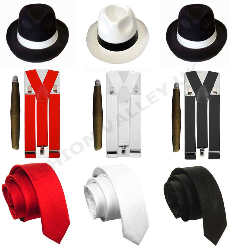 Mens gangster pimp hat braces tie cigar 1920\'s mafia adult fancy ...