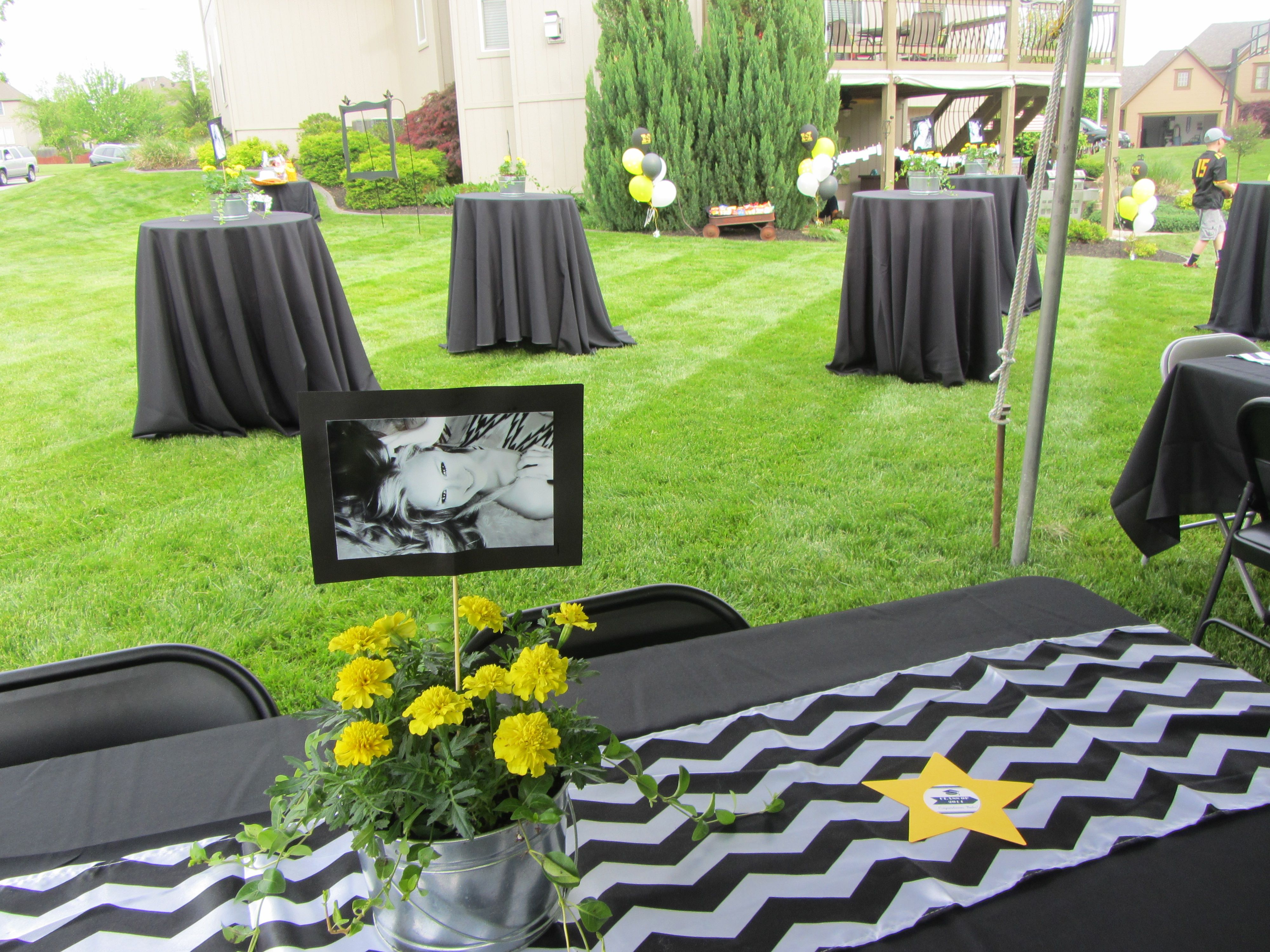 Backyard Graduation Party Ideas outdoor graduation party theme idea hire a comedian Outdoor Graduation Party Black White Yellow