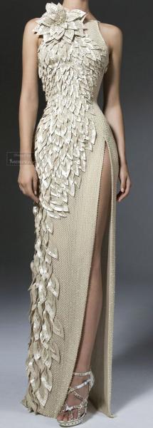 white leaf dress