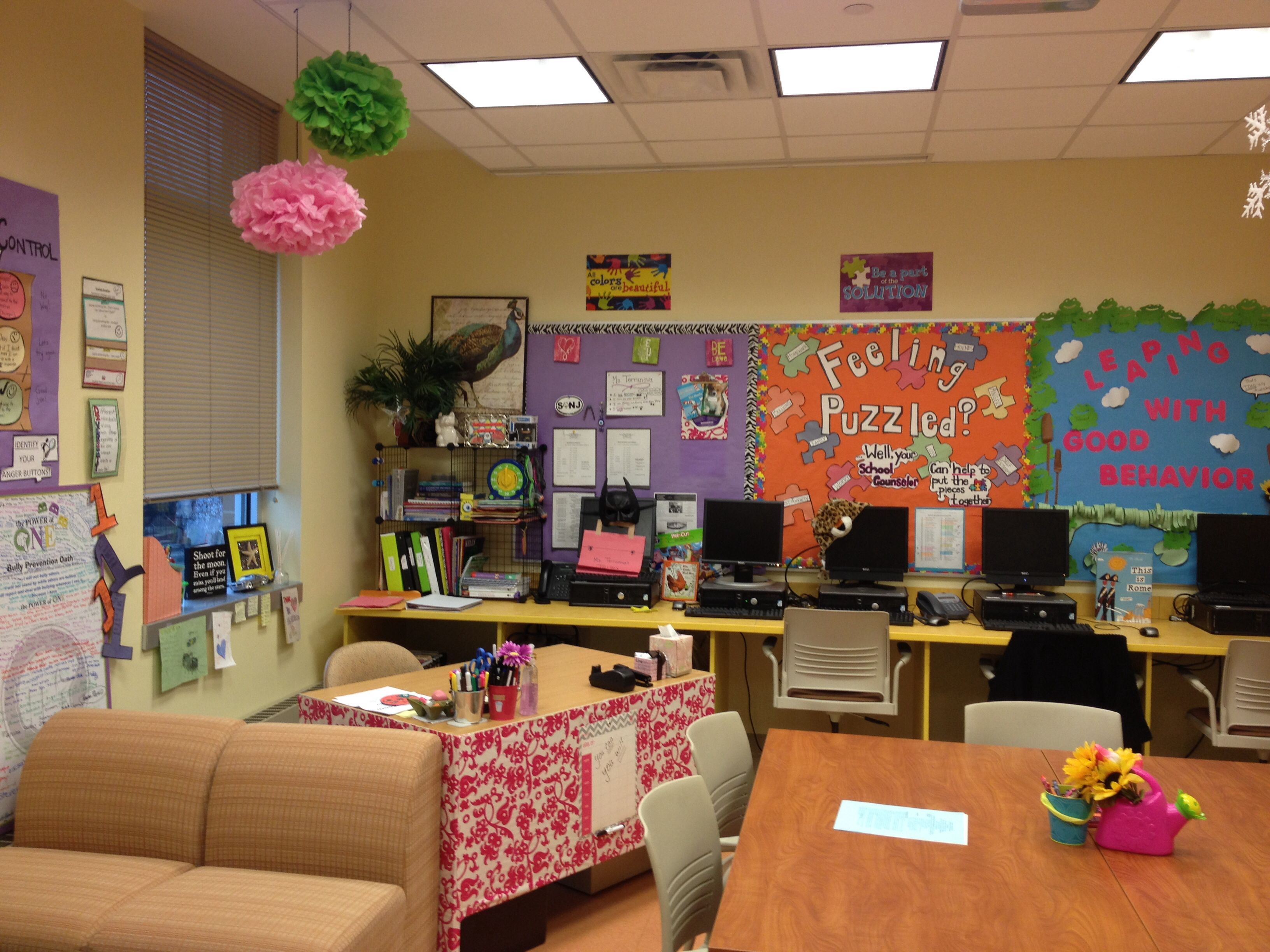 School Counselor Office. (I Used Gift Wrapping Paper From Targets $1 Area  To Wrap