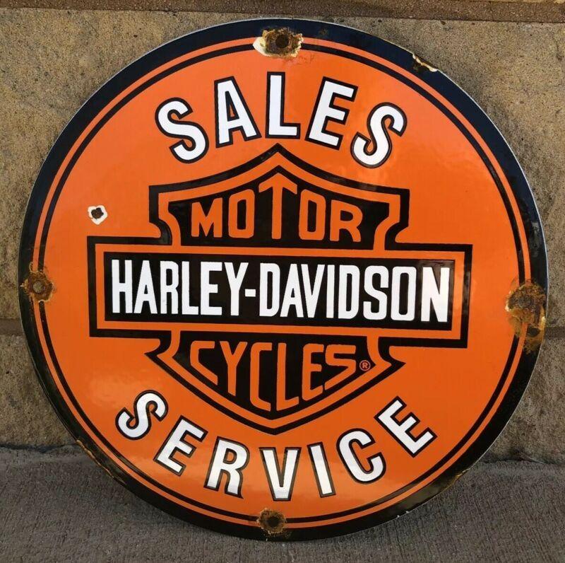 VINTAGE HARLEY DAVIDSON MOTORCYCLE PORCELAIN PIN-UP SERVICE STATION PUMP SIGN