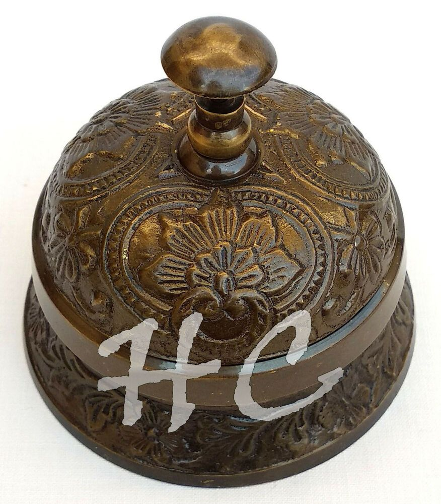 Polished Brass Hotel Counter Desk Call Bell Antique Victorian Style Service Ring