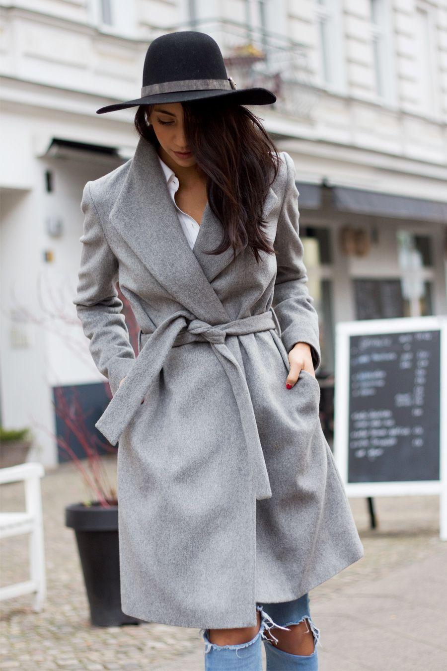 Long Grey Wrap Coat  585b0bccbb4