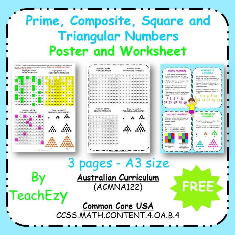 Maths Posters Worksheets Prime Composite Square And Triangular