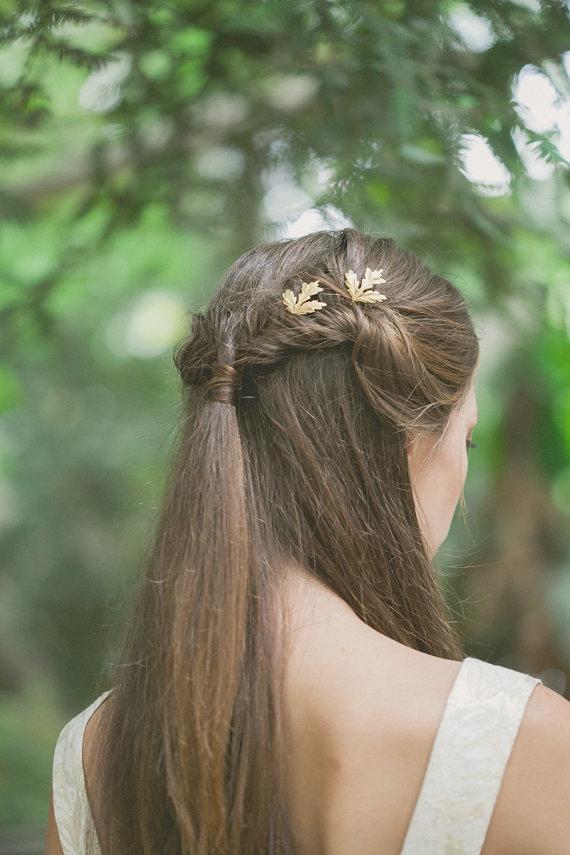 Gold Wedding Bobby Pins Wedding Hair Pins Wedding Hair Clips Leaf Bobby Pins…