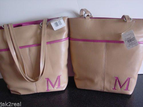 $0.99 Christmas Gift LIZ CLAIBORNE HANDBAG Brand New LADIES' - Beige Leather Pink Interior Christmas